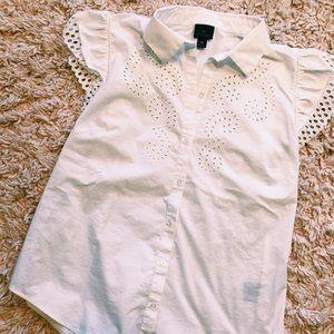 Worthington White Lace Detailed Button-Up Shirt
